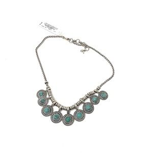 Lucky Brand Turquoise Collar Necklace Silver Tone